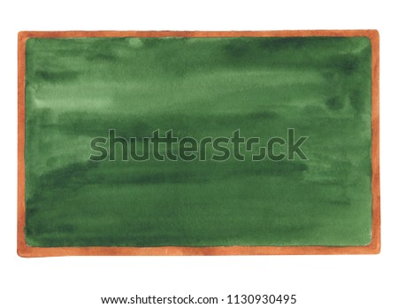 School chalkboard watercolor hand drawn clip art. Without text board.