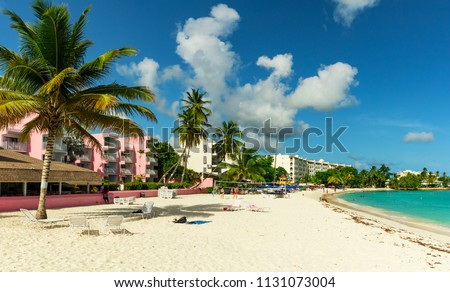 The sunny tropical Dover Beach on the island of Barbados in the Carribean #1131073004
