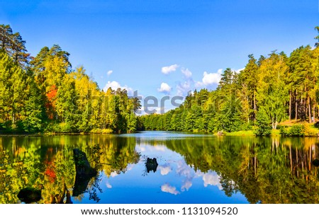 Forest lake reflection in autumn nature landscape. Autumn forest lake panoramic landscape. Autumn forest lake water reflection view #1131094520