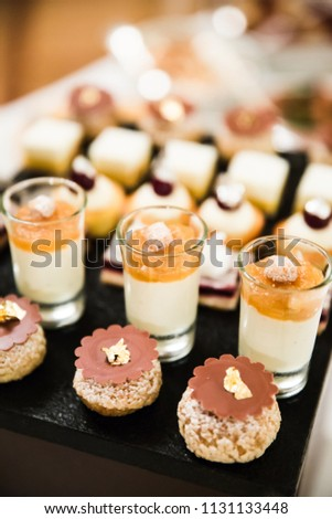 Gold and Silver Foiled Wedding Desserts and Mousses #1131133448