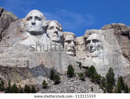 Mount Rushmore National Monument in South Dakota.  Summer day with clear skies. #113115559
