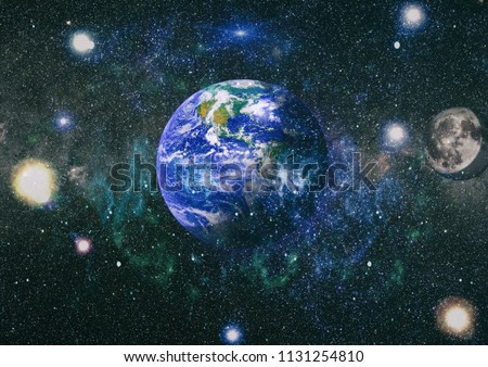 Earth and moon view from space . Extremely detailed image including elements furnished by NASA. #1131254810