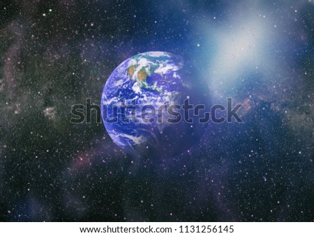 Earth in the outer space collage. Abstract wallpaper. Our home. Elements of this image furnished by NASA #1131256145