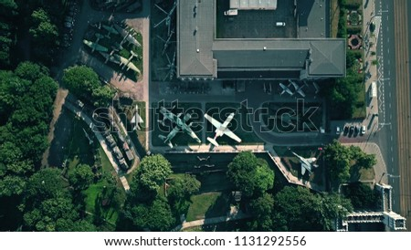 WARSAW, POLAND - JULY 5, 2018. Aerial view of military exhibition at Muzeum Wojska Polskiego or Museum of the Polish Army #1131292556