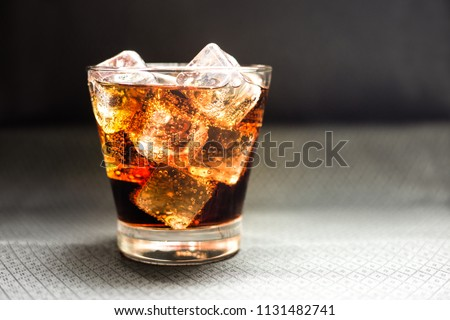 Beverage from cola in glass with ice cube,beverage in summer is sparkling water #1131482741