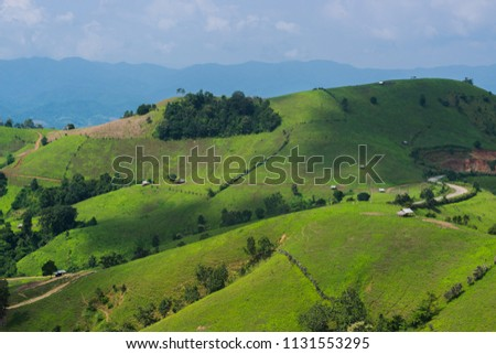 Mae La Noi, Bald mountain, which use farming people in northern Thailand. #1131553295