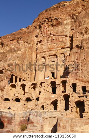 The abandoned city of Petra in Jordan in ancient times was the capital of the kingdom of the Nabateans. #113156050