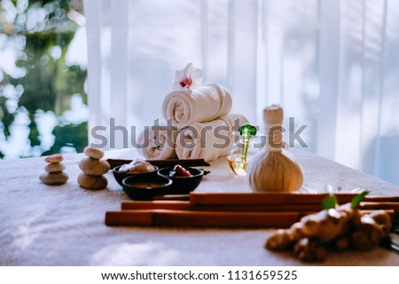 Thai herbal spa elements setting for traditional Thai massage, tropical spa treatment background concept. #1131659525