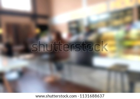 Blur coffee shop - cafe blurred with bokeh background, vintage style #1131688637