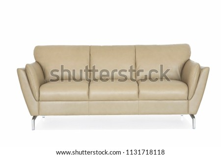 Beige genuine leather sofa with metal legs. #1131718118