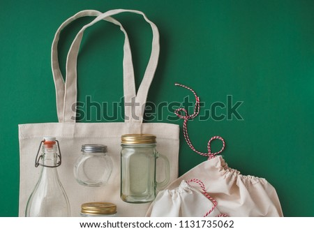 cotton bags and glass gar for free plastic shopping Royalty-Free Stock Photo #1131735062
