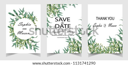 Wedding floral watercolor style double invite, invitation, save the date card design with forest greenery herbs, leaves #1131741290