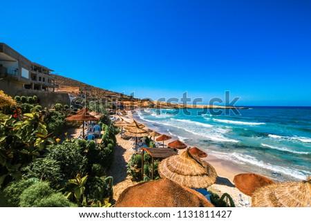 Wonderful landscape of the Tunisian beach. Taken at Hammamet, Tunisia. Wonderful destination for vacations! #1131811427