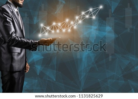 Business man with smart phone on soft background concept new high stock make money grow up and network line for partner ship connection. #1131825629