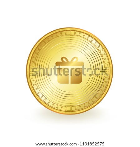 Gifto Cryptocurrency Gold Coin Isolated #1131852575