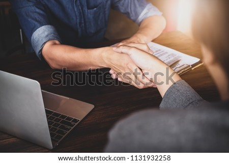 Business Success concept with partner, Partnership Giving shaking hands after Complete a deal. Successful Teamwork, Businessman with Team Agreement in Corporate. #1131932258