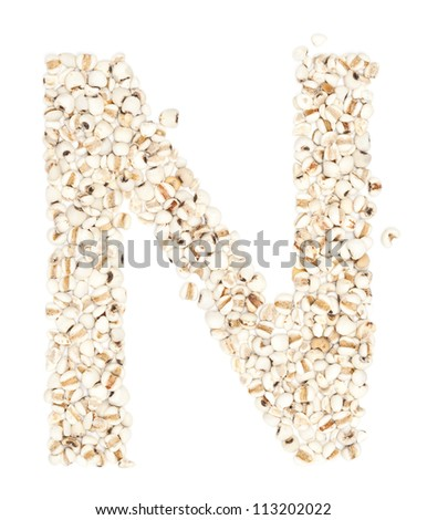 N,Alphabet from Job's tears on white background. #113202022