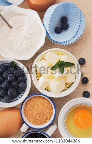 Traditional set of ingredients for baking on marble table. #1132044386