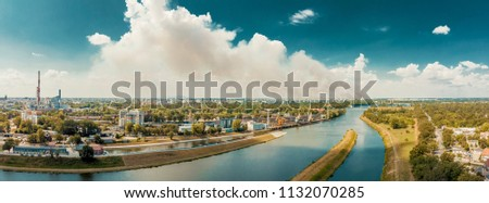 Odra river and industrial area in Wroclaw in Poland. Royalty-Free Stock Photo #1132070285