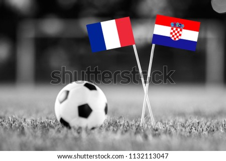 FRANCE and CROATIA national Flag on football green grass. France - Croatia, FINAL OF World Cup, Russia 2018  #1132113047