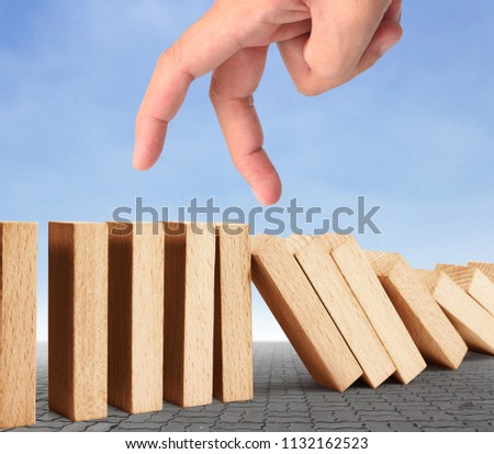 hand stop a dominoes continuous toppled #1132162523