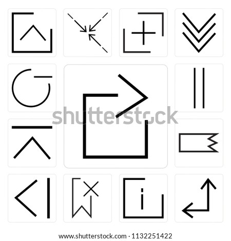 Set Of 13 simple editable icons such as right arrow, Diagonal info, Delete, Back, Right, up Vertical, minus, web ui icon pack #1132251422