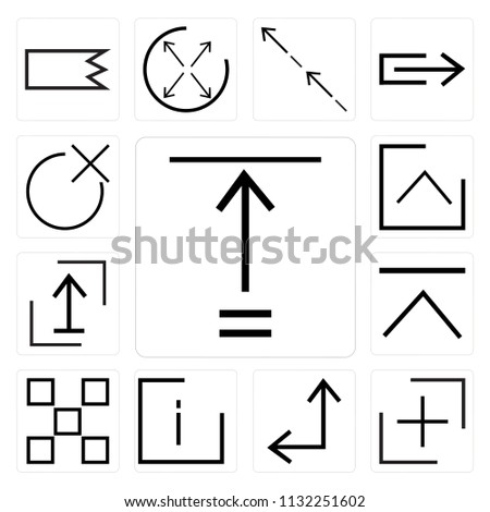 Set Of 13 simple editable icons such as Fit, plus, Diagonal arrow, info, buttons, up Shift, Up close, web ui icon pack #1132251602