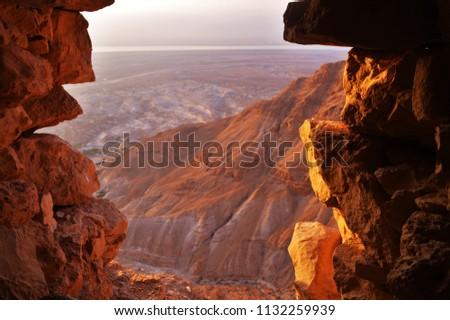 Judean Desert from Masada - Masada National  Park, Dead Sea Region, Israel - July 2016 #1132259939