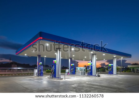 Gas fuel station with sunrise sky #1132260578
