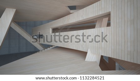 Abstract  concrete and wood parametric interior  with window. 3D illustration and rendering. #1132284521