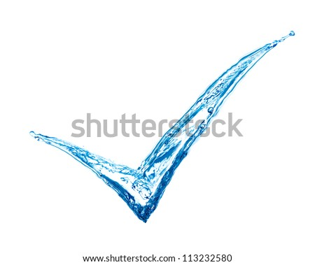 tick sign made of splashes - green concept Royalty-Free Stock Photo #113232580