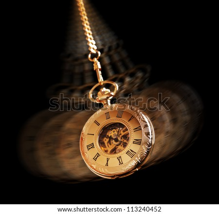 Hypnotism concept, gold pocket watch swinging used in hypnosis treatment #113240452