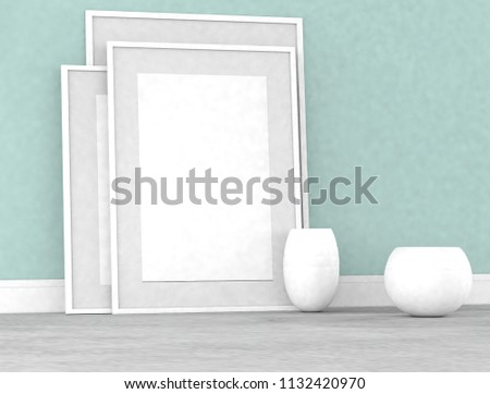 Poster Frame Mockup in a square frame on a concrete wall, with  a white pots. loft interior style. 3d rendering. House remodel #1132420970