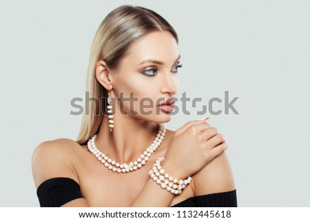Jewelry Woman with Makeup, Necklace and Earrings, Fashion Beauty Portrait #1132445618