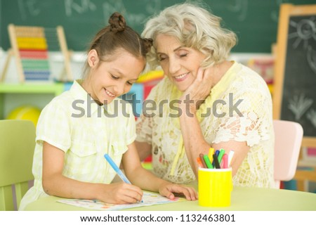 grandmother and granddaughter drawing #1132463801