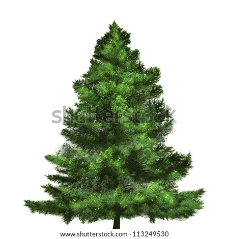 christmas tree painting on white background #113249530