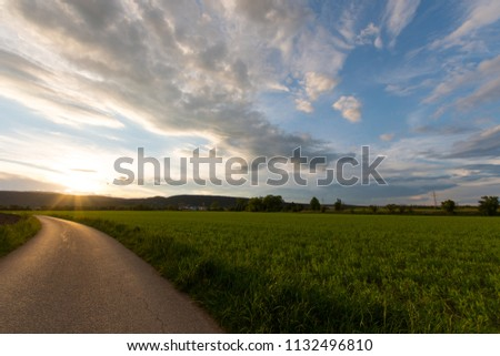Sunset with green meadow and mountains #1132496810