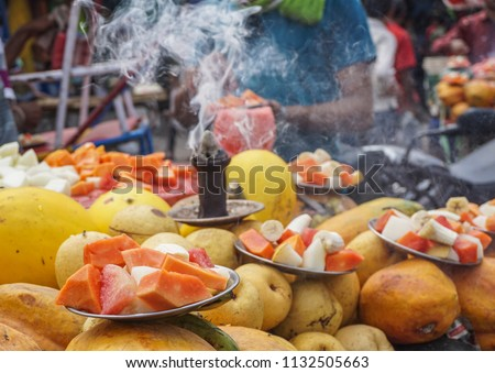 Selling fresh fruits on street in Jaipur, India. #1132505663