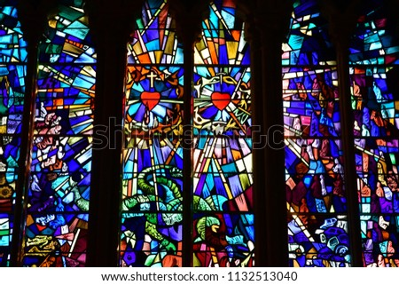 Douvres La Delivrande; France - april 22 2018 : window of the historical basilica #1132513040