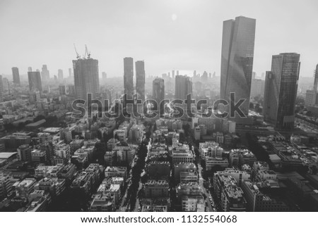 Tel Aviv-Yafo, Israel - June 9, 2018: Aerial view of the buildings and streets in Tel Aviv-Yafo, the cultural capital of the State of Israel. #1132554068