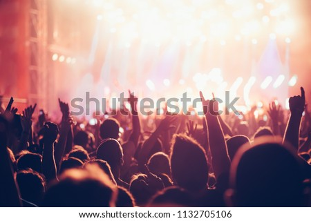 Cheering crowd with hands in air at music festival #1132705106