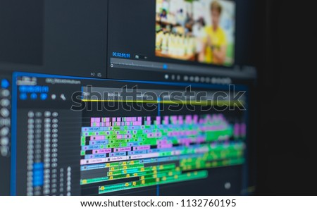 video time line  Royalty-Free Stock Photo #1132760195