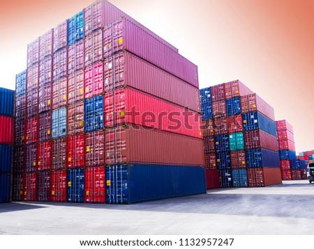Containers stack evening #1132957247