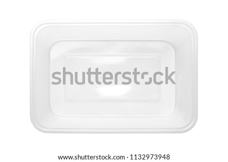Top view of plastic food box isolated on white background #1132973948