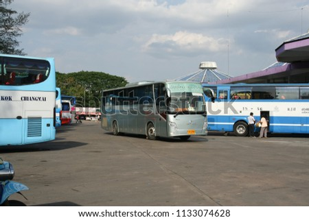 Chiangmai, Thailand -  April  27 2008: Bus of Greenbus Company. Green Bus is Big Company for Bus Sevice in North Region of Thailand. #1133074628