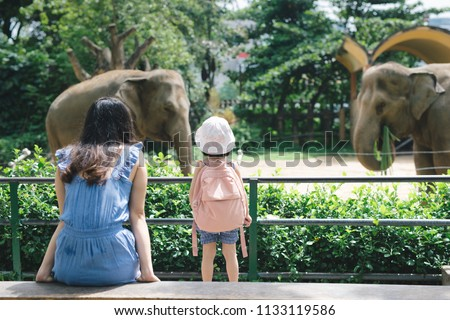 Happy mother and daughter watching and feeding elephants in zoo.  Royalty-Free Stock Photo #1133119586