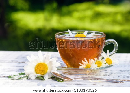 A cup of tea with chamomile, on which there is a ladybug, close-up, illuminated by sunlight, on a white wooden table. #1133170325