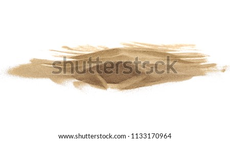 Desert sand isolated on white background and texture, with clipping path #1133170964