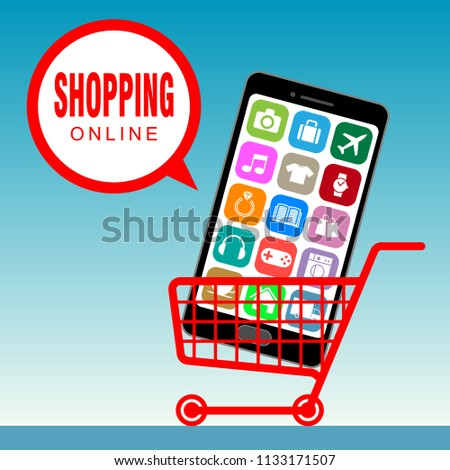 Shopping cart with smartphone inside, e-commerce concept  #1133171507