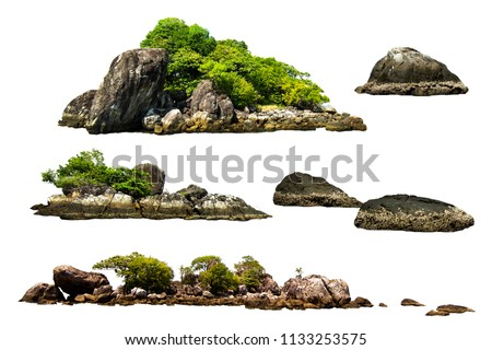 The trees. Mountain on the island and rocks.Isolated on White background Royalty-Free Stock Photo #1133253575